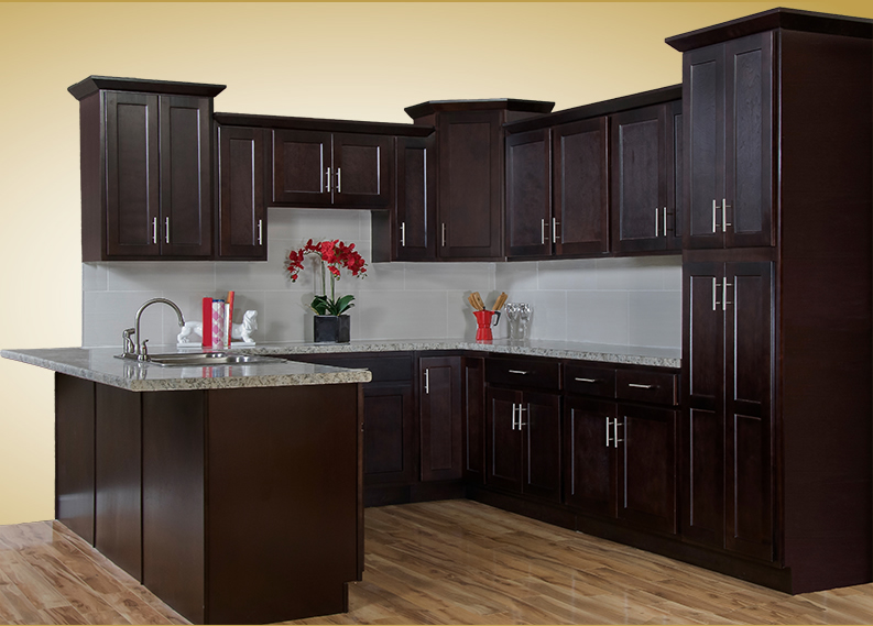Kitchen countertops company great american floors for Cappuccino kitchen cabinets